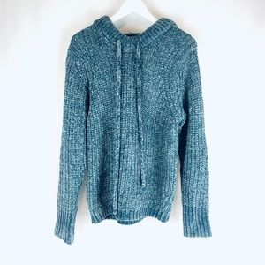 POL CHUNKY KNIT PULLOVER SWEATER HOODIE